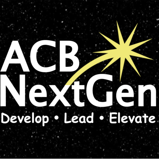 Background - Black night sky with dim stars in a horizontal rectangle. Foreground - All text is in white font. NextGen spans the width of the image with the N and G capitalized. ACB is in capital letters above the word Next. A yellow star is shooting out of the top right corner of the letter x and hovering over the word Gen. Underneath and spanning the width of the word NextGen are the words Develop Lead Elevate (1/3 of the font size of ACB NextGen) with a dot between each word.